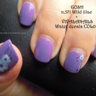 nail art GOSH n.571 wild lilac + VIVA LA NAILS water decals COL08